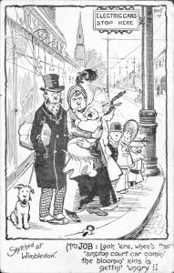 Cartoon depicting the electric tram service in Wimbledon