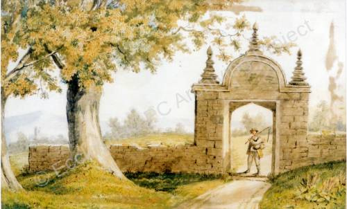 Barnes Hall - watercolour of old Gateway.