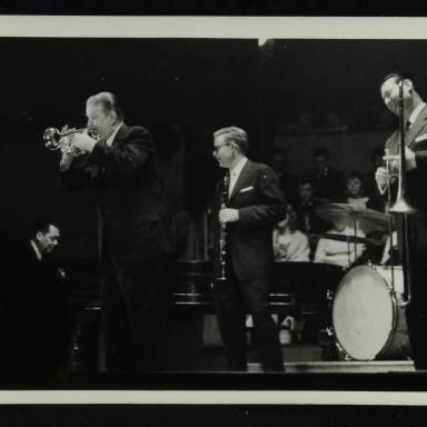 Eddie Condon, Gene Schroeder, Wild Bill Davison, Bob Wilber and Robert 'Cutty' Cutshall (left to right)