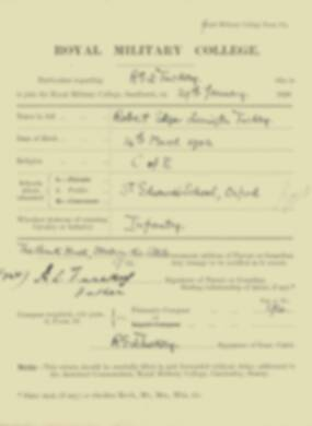 Robert Tuckey -  RMC Form 18A Personal Detail Sheets Jan & Sept 1920 Intake