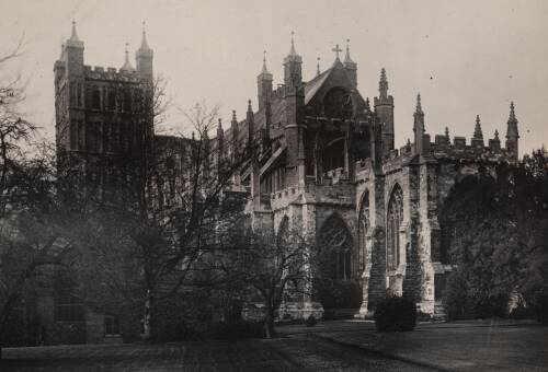 Exeter Cathedral from the palace grounds, c1930, Exeter