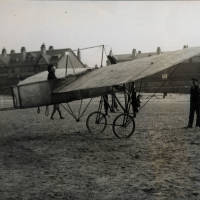 Henry Melly in his Bleriot monoplane on Waterloo Shore c1911