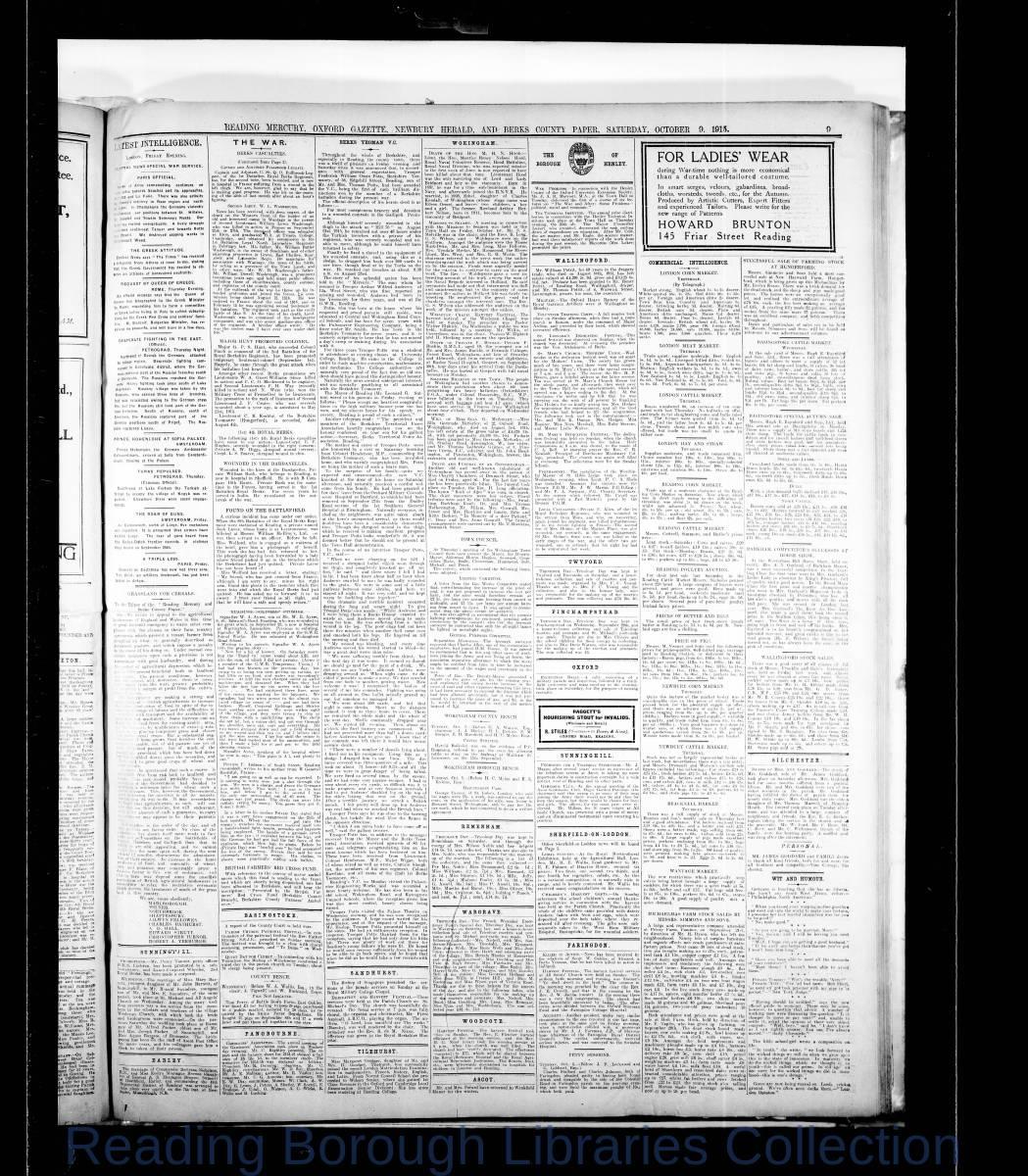 Reading Mercury Oxford Gazette  Saturday, October 9, 1915.. Pg 9