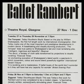 Theatre Royal, Glasgow, November–December 1979