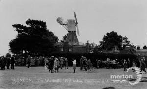 Walkers near Wimbledon windmill, Wimbledon Common