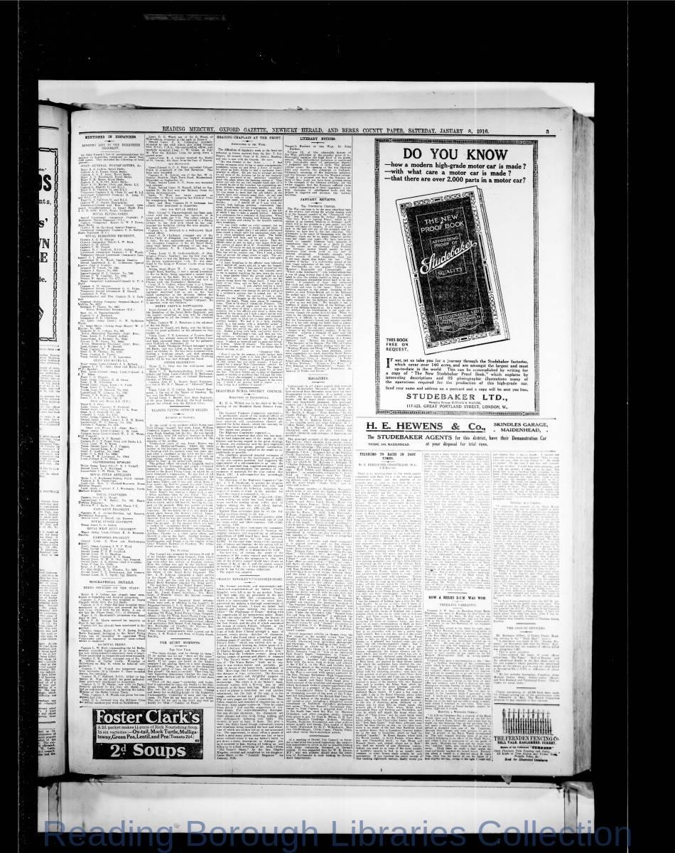 Reading Mercury Oxford Gazette  Saturday, January 8, 1916. Pg 3