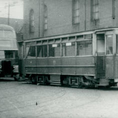 Tram  43 and Bus in Bus Depot at Chichester