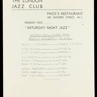 The London Jazz Club. Mack's Restaurant. 100 Oxford Street. Humphrey Lyttelton & His Band