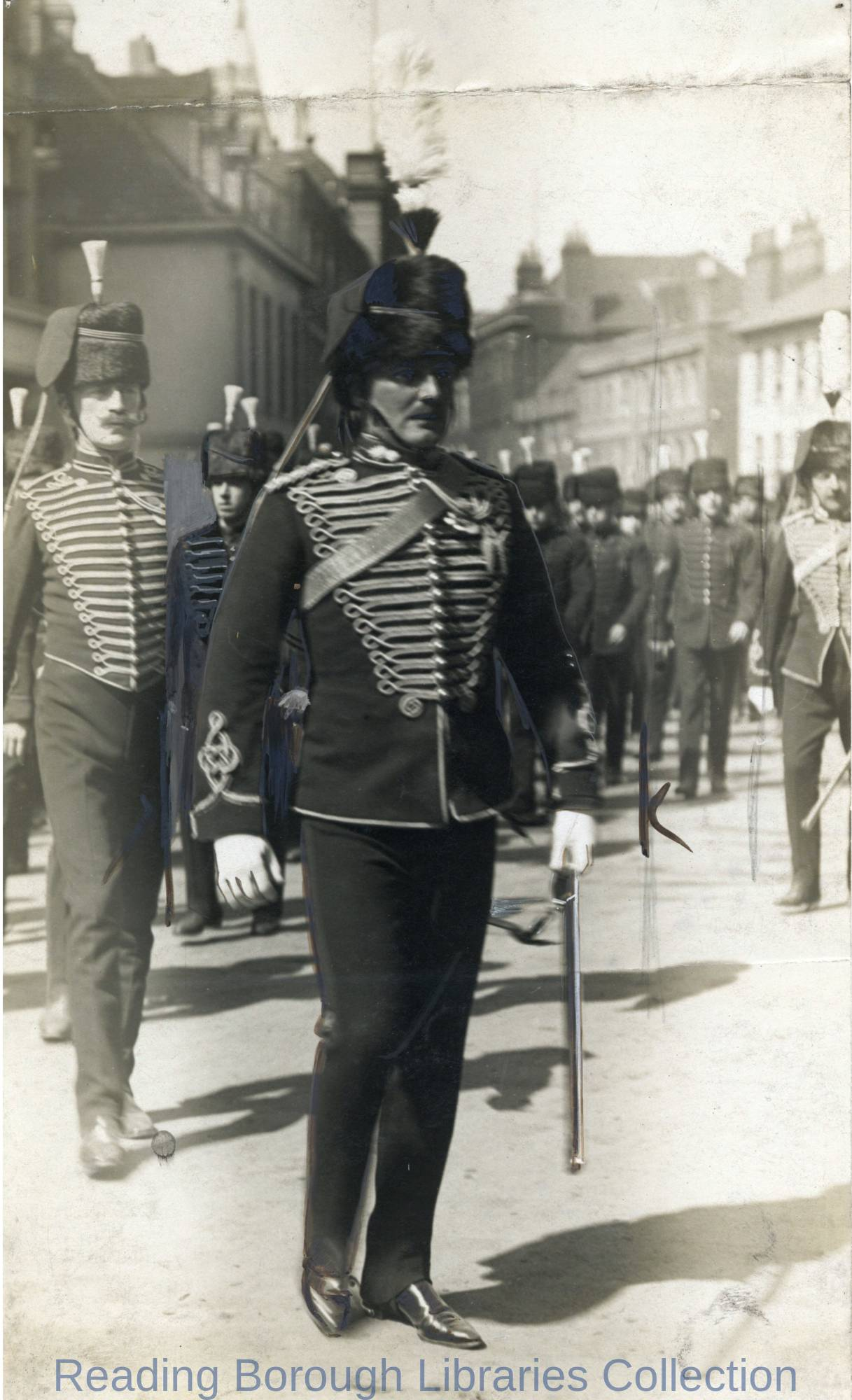 Sir Leslie Orme Wilson (1876-1955), Captain of the Royal Horse Artillery (Territorials), Friar Street, Reading, c1913.