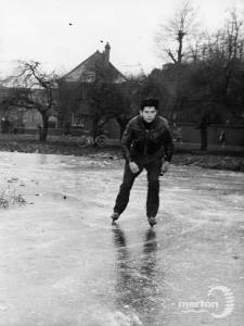 Skating on the pond:  Cranmer Green, Mitcham