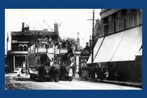 Trams at Ely's Corner, Worple Road