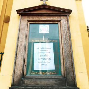 Notice on door of St Francis Xavier church