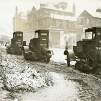 Motor snow sweepers at work in Nottingham