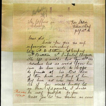 Service Record for Corporal William Stillman - Letter re his whereabouts