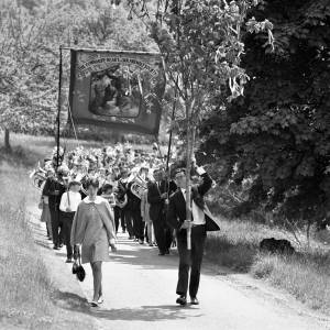 The Oak Bough and the Club banner lead the way at the Fownhope Heart of Oak Club Walk, 1969