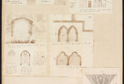 Various sketches from Sampford Church, St Mary's High Bickington and North Tawton