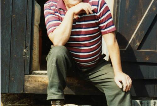 008 Bernard Lyles of Upper Denby outside his allotment