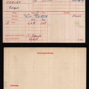 Lance Corporal Edgar Keeley medal index card