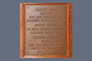 Memorial Plaque - Hewitt, Jeffery & Reeve
