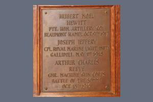 Memorial Plaque - Hewitt, Jeffery & Reeve