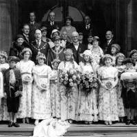 Group photograph of Bootle May Queen Miss Margery Roscoe with the mayor and mayoress and guests, 1934