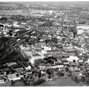 Barton Yard Railway Goods Station, Hereford, aerial view, 1959