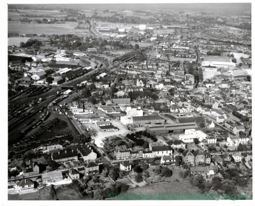 Barton Yard Railway Goods Station, Hereford, aerial view, 1959