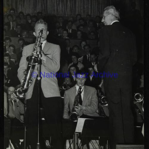 Bill Perkins, Tommy Whittle and Stan Kenton (left to right)