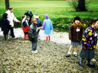 Wandle Park, Colliers Wood, Children pictured in a reedbed.