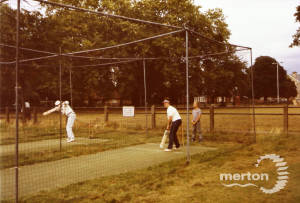 Cricket practice at the nets on the Green, Mitcham