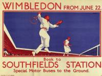 London Transport poster promoting the Wimbledon tennis championships