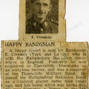 Grenoside Bandsman Ernest Crookes, newspaper cutting