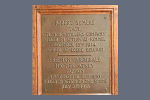 Memorial Plaque - Tate & Atkey