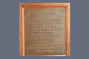 Memorial Plaque - Tate & Atkey