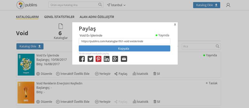 3)Web Sitenize Bağlantı Linki Ekleyin: Publins'te kataloglarınızı oluşturduktan sonra 'Paylaş' butonunda görüntüleyeceğiniz linki web sitenizde oluşturacağınız bağlantıya ekleyebilirsiniz. Böylelikle web sitenizi ziyaret eden kullanıcılarınıza en güncel ürün, indirim ve promosyonlarını harika bir deneyimle sunabilirsiniz.