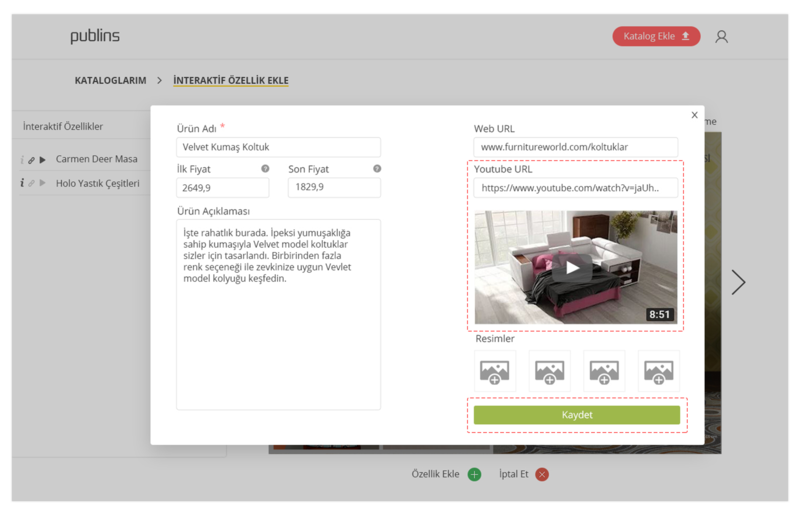 Adım 5: Youtube Linki alanına ürününüzün Youtube'da paylaşmış olduğunuz linkini ekleyin.