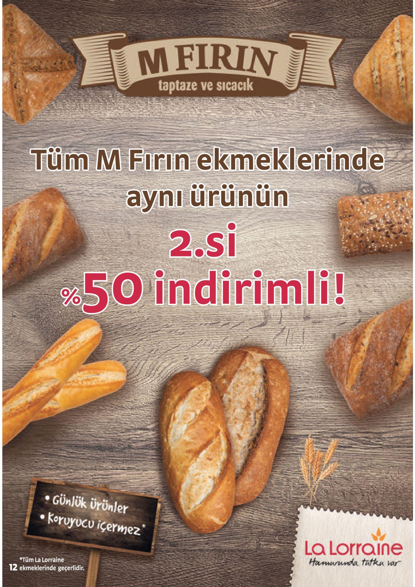 mfirin taptaze ve sicacik tum m firin ekmeklerinde avniurunun 2 s 5o indirimli! .cünlük ürönler .koruyucu içermez la lorraine *tüm la 12 ekme ge
