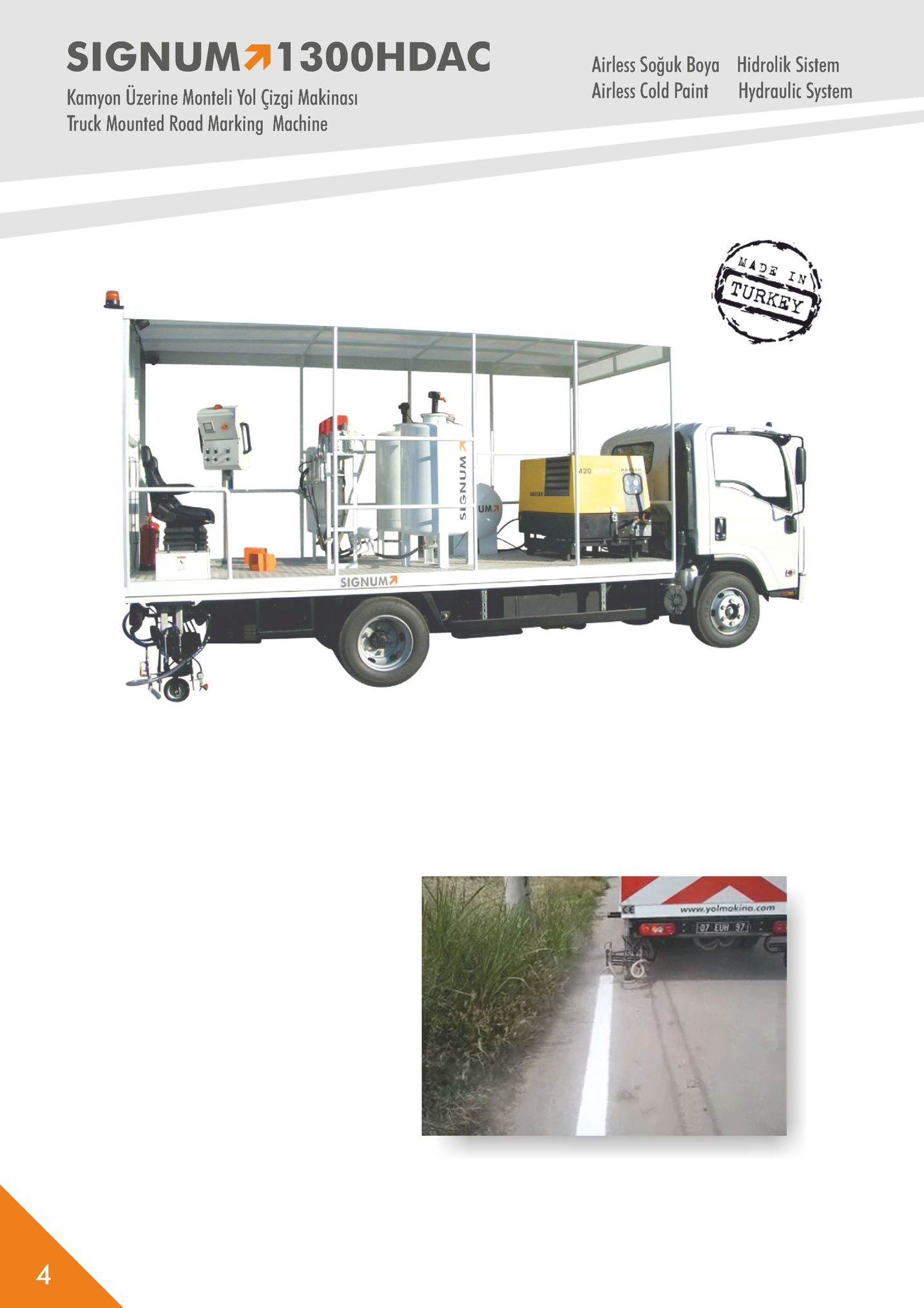signum71300hdac airless soğuk boya airless cold paint hidrolik sistem hydraulic system kamyon uzerine monteli yol çizgi makinas truck mounted road marking machine turkey 120 signum ce www.yolmakino.com