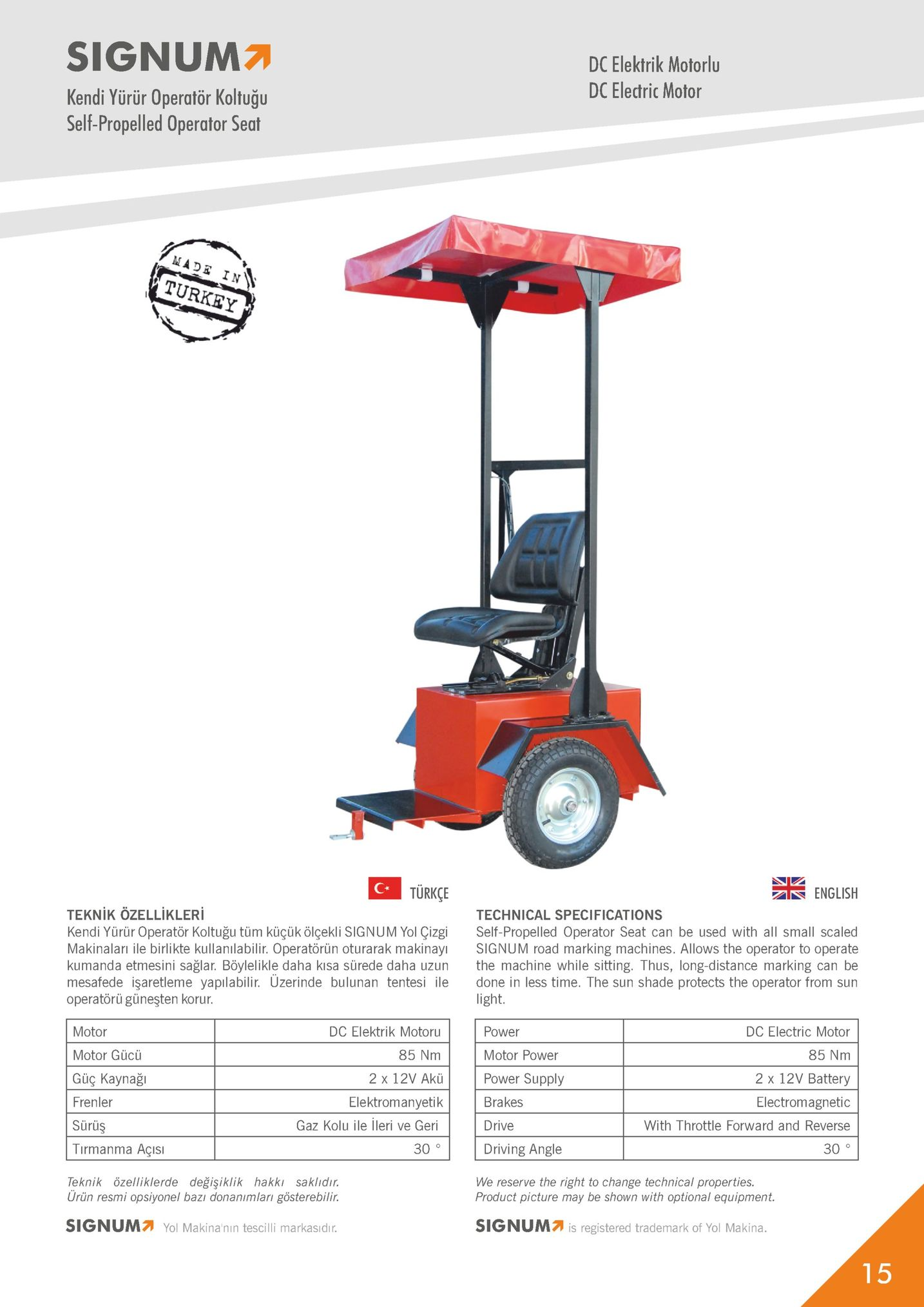 signum kendi yürür operatör koltuğu self-propelled operator seat dc elektrik motorlu dc electric motor made in turkey türkçe english teknik ozellikler kendi yürür operatör koltuğu tüm küçük ölçekli signum yol çizgi makinaları ile birlikte kullanılabilir. operatörün oturarak makinayi kumanda etmesini sağlar. böylelikle daha kisa sürede daha uzun mesafede işaretleme yapilabilir. üzerinde bulunan tentesi ile operatörü güneşten korur technical specifications self-propelled operator seat can be used with all small scaled signum road marking machines. allows the operator to operate the machine while sitting. thus, long-distance marking can be done in less time. the sun shade protects the operator from sun light. motor motor gücü güç kaynağı frenler sürüş tirmanma açısı teknik özelliklerde değişiklik hakki saklıdir dc elektrik motoru 85 nm 2 x 12v akü elektromanyetik gaz kolu ile lleri ve geri power motor power power supply brakes drive driving angle dc electric motor 85 nm 2 x 12v battery electromagnetic with throttle forward and reverse 30 0 we reserve the right to change technical properties. product picture may be shown with optional equipment. urün resmi opsiyonel bazı donanimlari gösterebilir. sign um yol makinanın tescilli markasar. signum7 is registered trademark of yol makina.