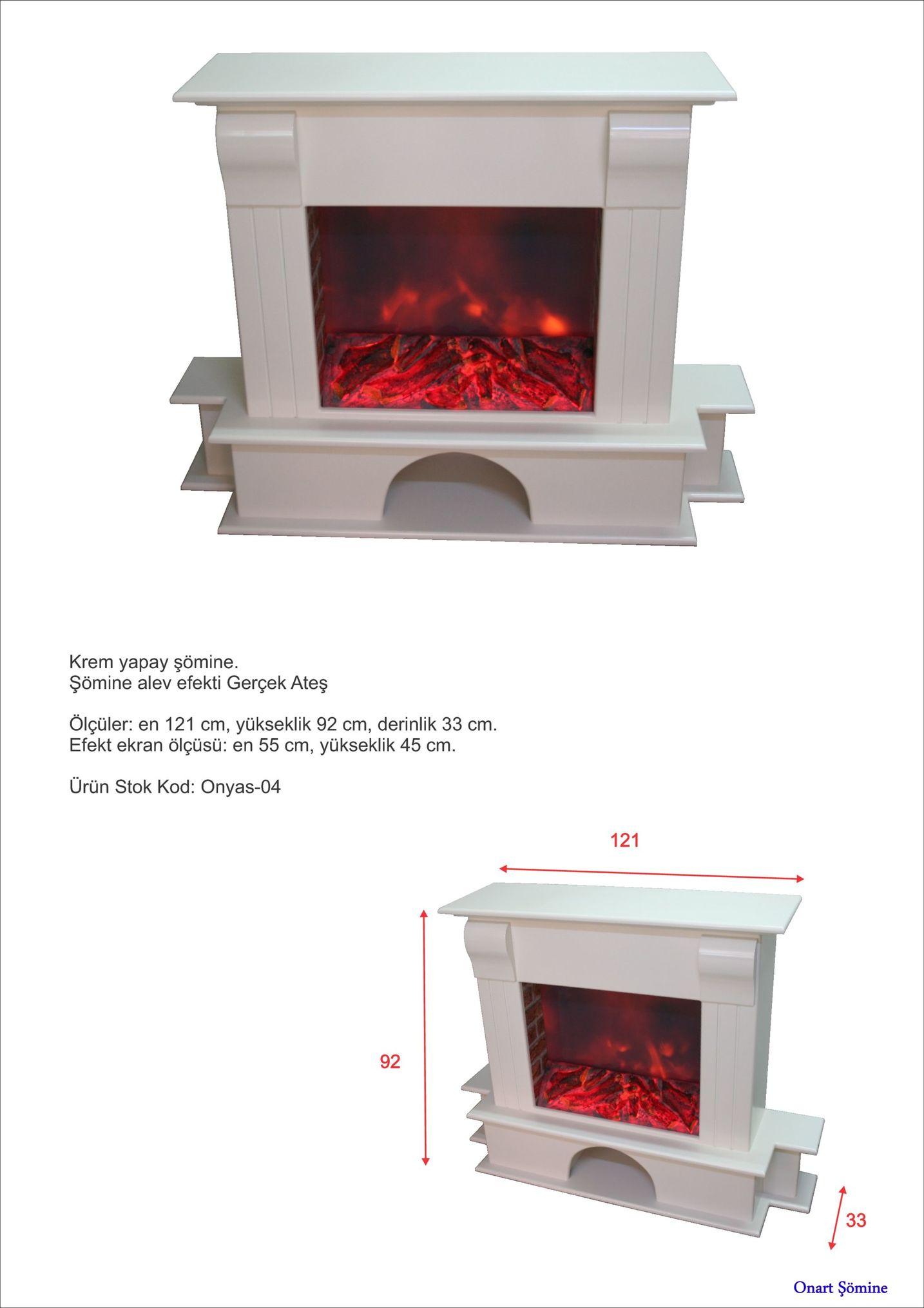 krem yapay şömine. şömine alev efekti gerçek ateş ölçüler: en 121 cm, yükseklik 92 cm, derinlik 33 cm. efekt ekran ölçüsü: en 55 cm, yükseklik 45 cm ürün stok kod: onyas-04 121 92 onart şömine