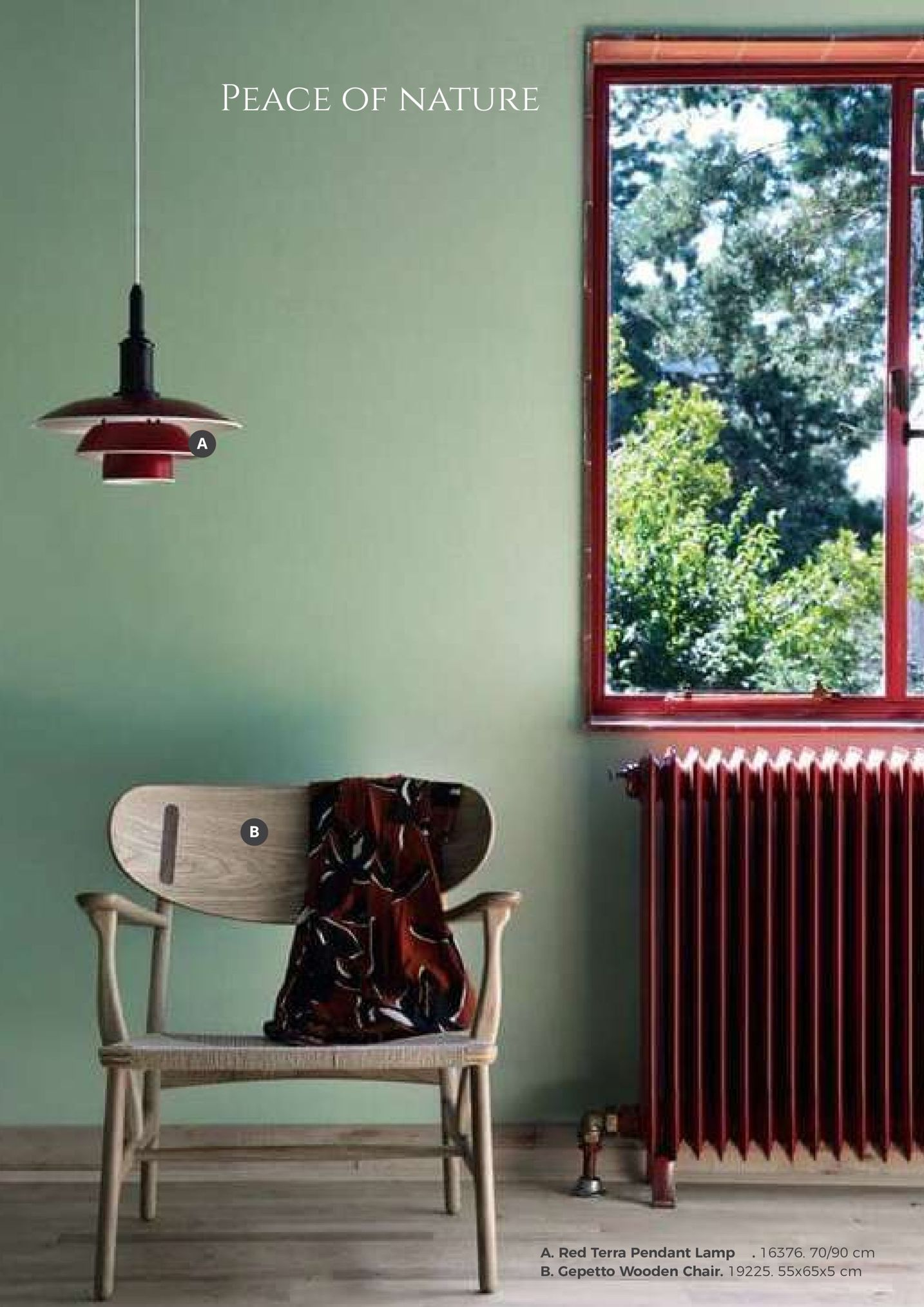 peace of nature a. red terra pendant lamp .16376. 70/90 cm b. gepetto wooden chair. 19225. 55x65x5 cm