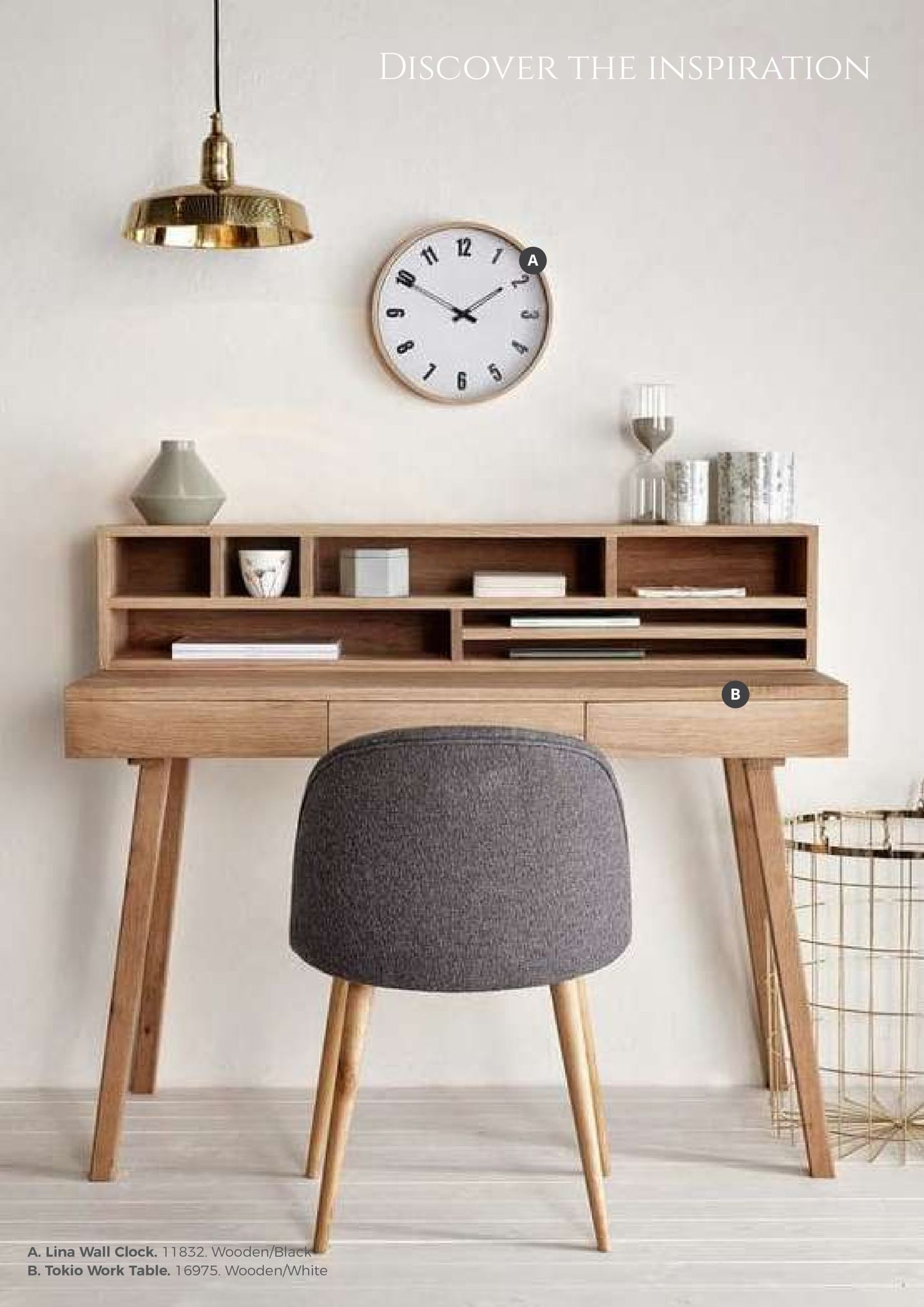 discover the inspiration 12 a. lina wall clock. 1 1 832, wooden/bl b. tokio work table. 16975. wooden/white