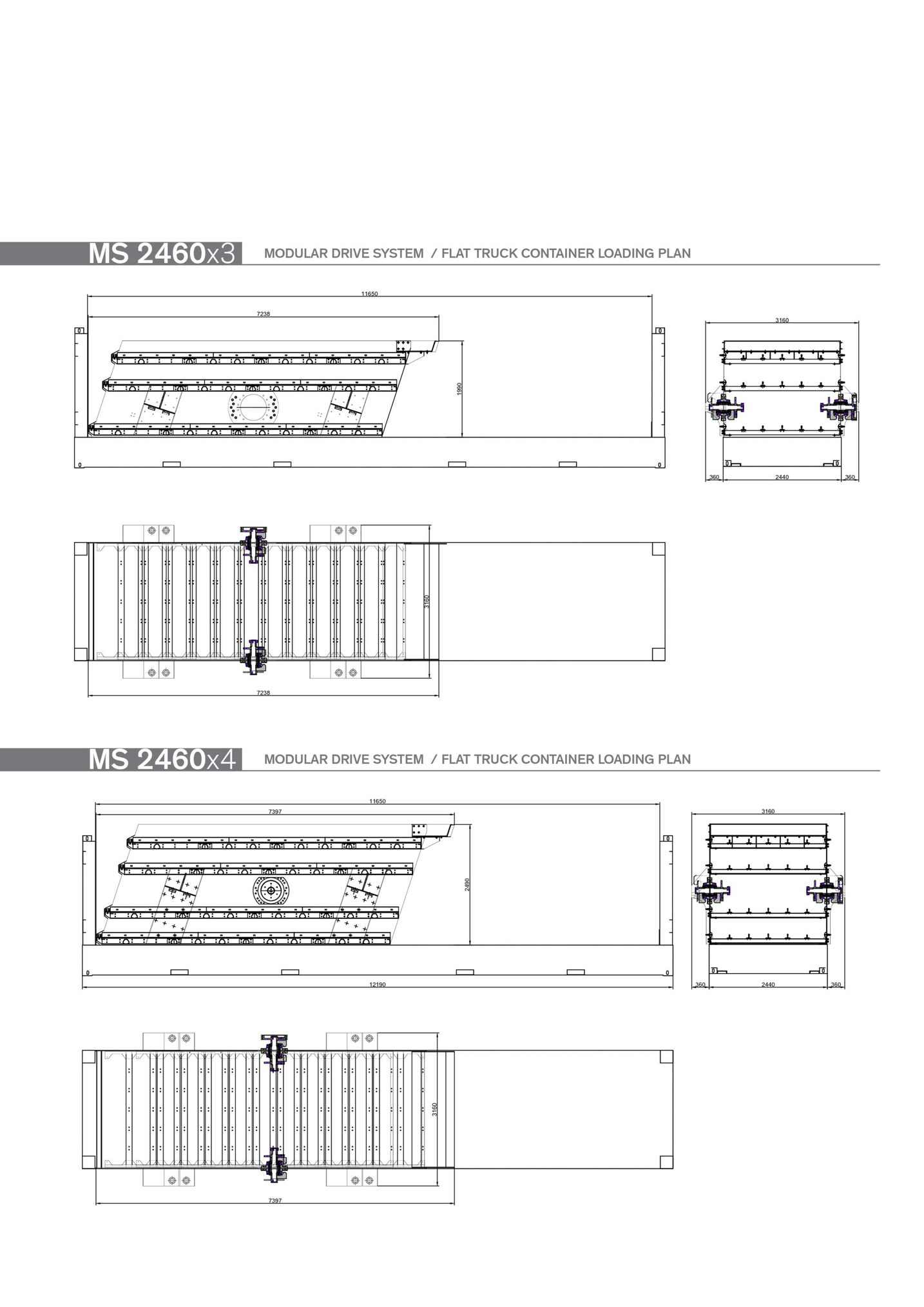modular drive system/flat truck container loading plan ms 2460x4 modular drive system/flat truck container loading plan