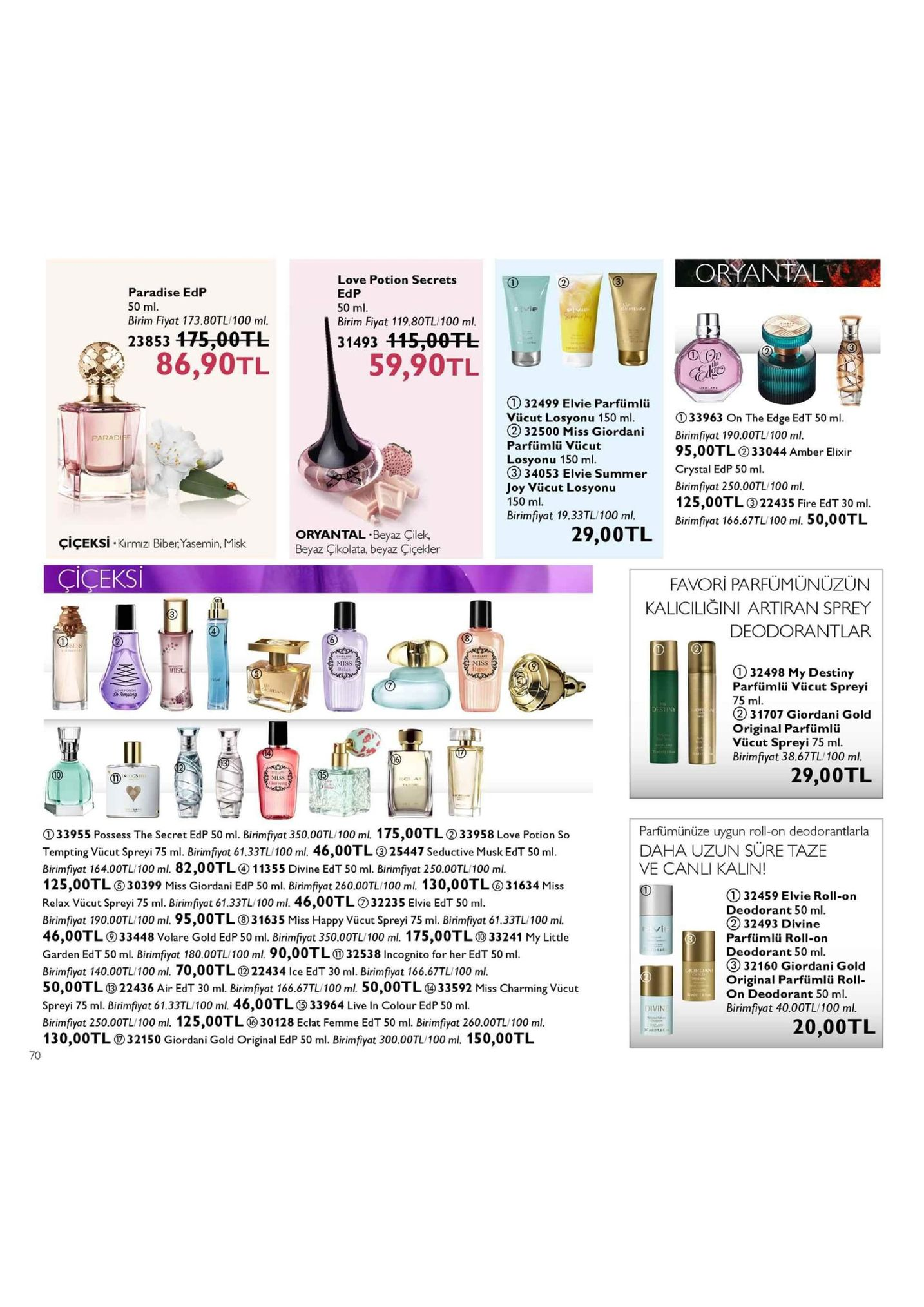 oryantal paradise edp 50 ml. birim fiyat 173.80tl/100 ml. love potion secrets edp 50 ml. birim fiyat 119.80tl/100 ml. 31493 115 00tl 23853 175-00fl 3 86,90tl 59,90tl l 1 32499 elvie parfiümlü vücut losyonu 150 ml. d33963 on the edge edt 50 ml 2 32500 miss giordani birimfyot 190.00tl/100 m ss giordanibirimfiyat 190.00tl/100 ml paradiee parfümlü vücut losyonu 150 ml 95,00tl 33044 amber elixir 34053 elvie summer crystal edp 50 ml. joy vücut losyonu 150 ml birimfiyat 250.00tl/100 ml 125,00tl22435 fire edt 30 ml birimfiyat 166.67tl/100 ml 50,0otl brimfiyot 19.33tl/100mb oryantal beyaz çilek beyaz çikolata, beyaz çiçekler 29,00tl çiçeks-kirmizi biber,yasemin, misk ciceks favori parfümünüzün kaliciliğini artiran sprey deodorantlar miss iss 1 32498 my destiny parfümlü vücut spreyi 75 ml. ② 31707 giordani gold original parfümliü vücut spreyi 75 ml. birimfiyat 38.67tl/100 ml. destiny 29,00tl cla parfümünüze uygun roll-on deodorantlarla daha uzun sure taze ve canli kalin! ① 33955 possess the secret edp 50 ml. birimtiyat 350.00tl 100 ml, 1 75,00tl ② 33958 love potion so tempting vücut spreyi 75 ml. birimfiyat 61.33tl/100 ml. 46,00tl25447 seductive musk edt 50 ml birimfiyat 164.00tl/100 ml. 82,00tl11355 divine edt 50 ml. birimfiyat 250.00tl/100 ml. 125,00tl 30399 miss giordani edp 50 ml. binimfyot 260,007l 100 ml. 130,00tl o31634 miss relax vücut spreyi 75 ml. birimfiyat 61.33tl/100 ml. 46,00tld32235 elvie edt 50 ml birimfiyat 190.00tl/100 ml. 95,00tl31635 miss happy vücut spreyi 75 ml. birimfiyat 61.33tl/100 mi. 46,00tl ⑨33448 volare gold edp 50 ml. birim fiyat 350.00tl 100 ml. 175 ,00tl ⑩33241 my little garden edt 50 ml. birimfiyat 180.00tl 100 ml, 90,00tlo) 32538 incognito for her edt 50 ml. birimfiyat 140.00tl 100 ml, 70,00tl ⑩22434 ice edt 30 ml. birimfiyat 166.67tl 100 ml. 50,00tl ⑩22436 air edt 30 ml. birim fiyat 166.67tl 100ml 50,00tl ® 33592 miss charming vücut spreyi 75 ml. birimfiyat 61.33tl/100 ml. 46,00tl33964 live in colour edp 50 ml. birimfiyat 250.00tl 100ml 125,00tl ⑩30 128 eclat femme edt 50 ml. brimfiyat 260.00tu 100 ml. 13 0,00tl ⑦ 321 50 giordani gold original edp 50 ml. birim fiyat 300.00tl/100 ml. 1 5 0,00 tl 132459 elvie roll-on deodorant 50 ml 232493 divine parfümlü roll-on deodorant 50 ml 332160 giordani gold original parfümlü roll- on deodorant 50 ml birimfiyat 40.00tl/100 ml. 20,00tl 70