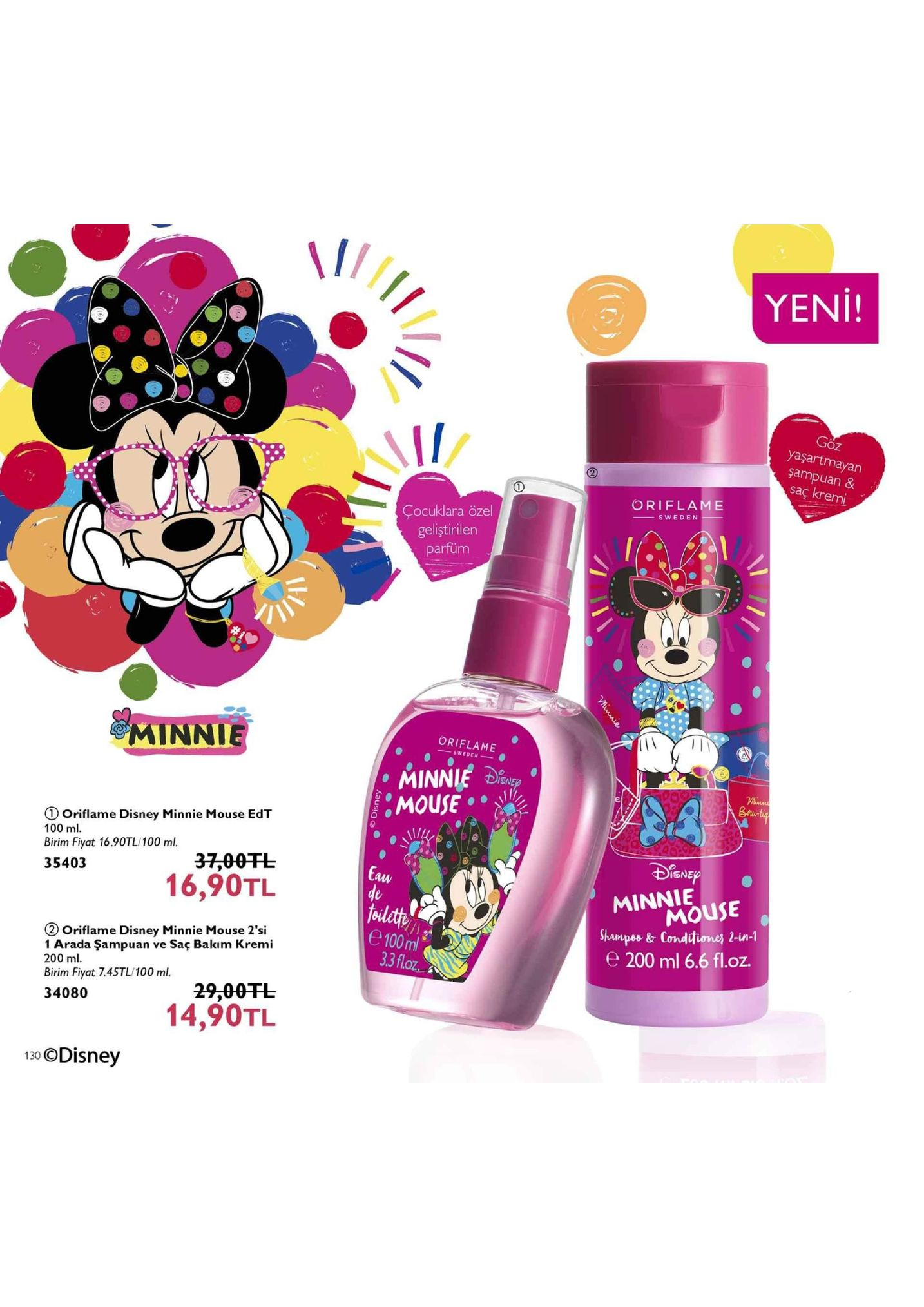 yeni! goz yaşartmayan şampuan & saç kremi oriflame çocuklara özel geliştirilen parfüm minnie oriflame mouse oriflame disney minnie mouse edt 100 ml birim fiyat 16.90tl/100 ml. 35403 37,00干し 16,90tl isne minnie shampes & condtuone, 2-in-1 e 200 ml 6.6 fl.oz aw mouse fodlcth e 100 ml oriflame disney minnie mouse 2'si 1 arada şampuan ve saç bakim kremi 200 ml birim fiyat 7.4stl/100 ml. 34080 oz 29.00tl 14,90tl 130 odisney