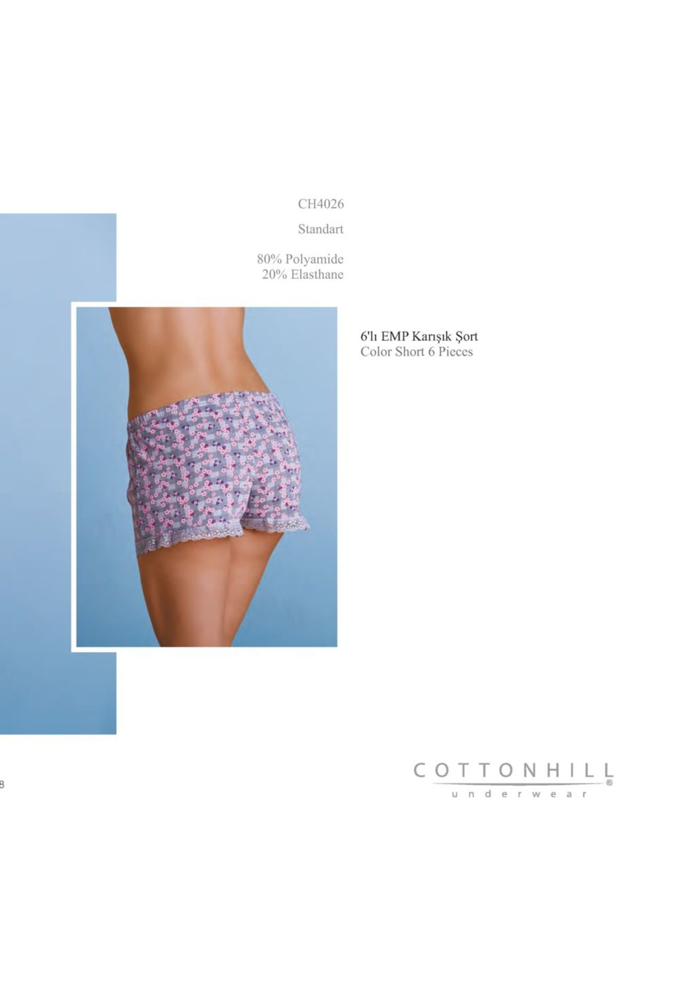 ch4026 standart 80% polyamide 20% elasthane 6' emp karışık şort color short 6 pieces cottonhill under w ea r