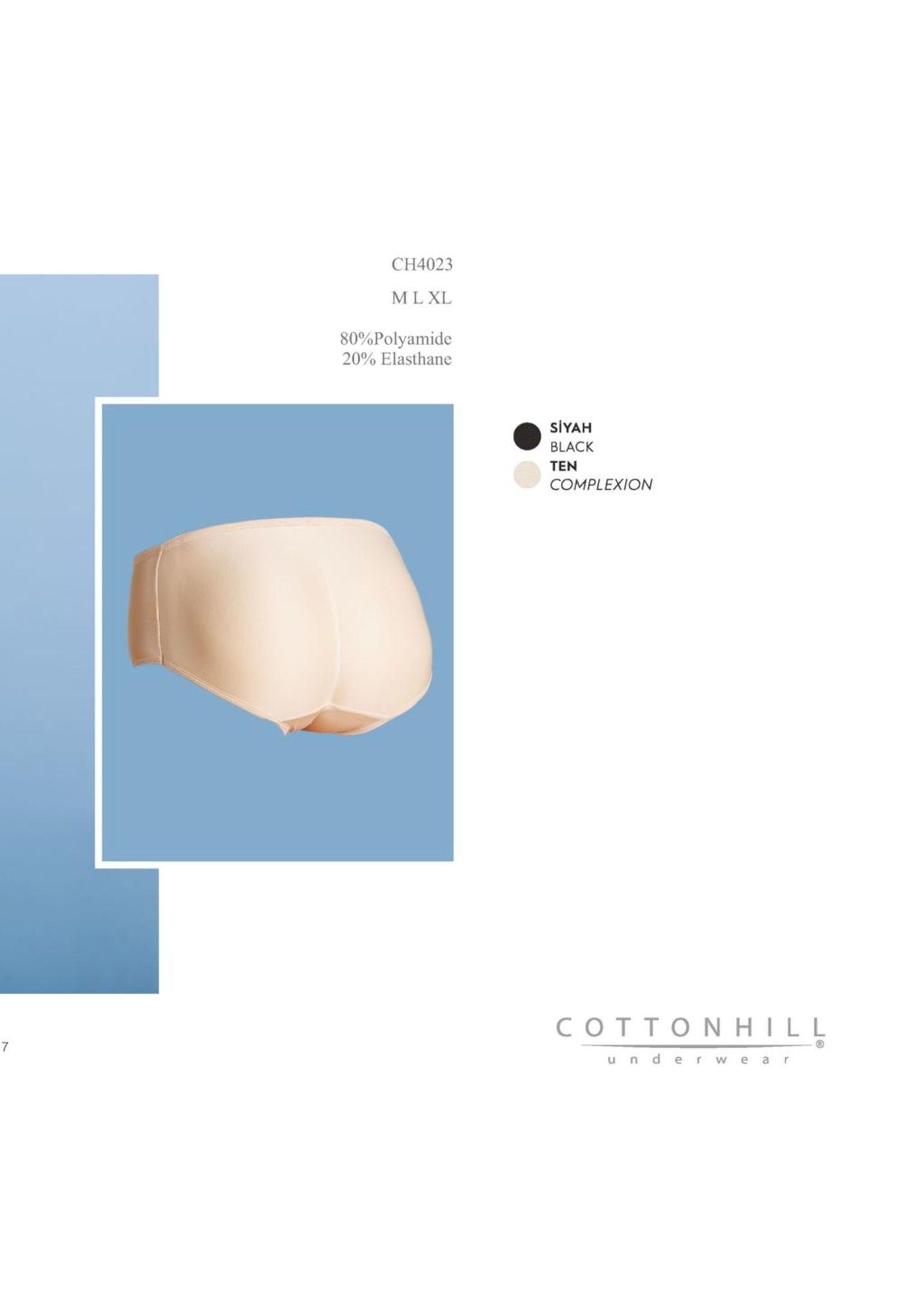 ch4023 mlxl 80%polyamide 20% elasthane siyah black ten complexion cotton hill underwe a