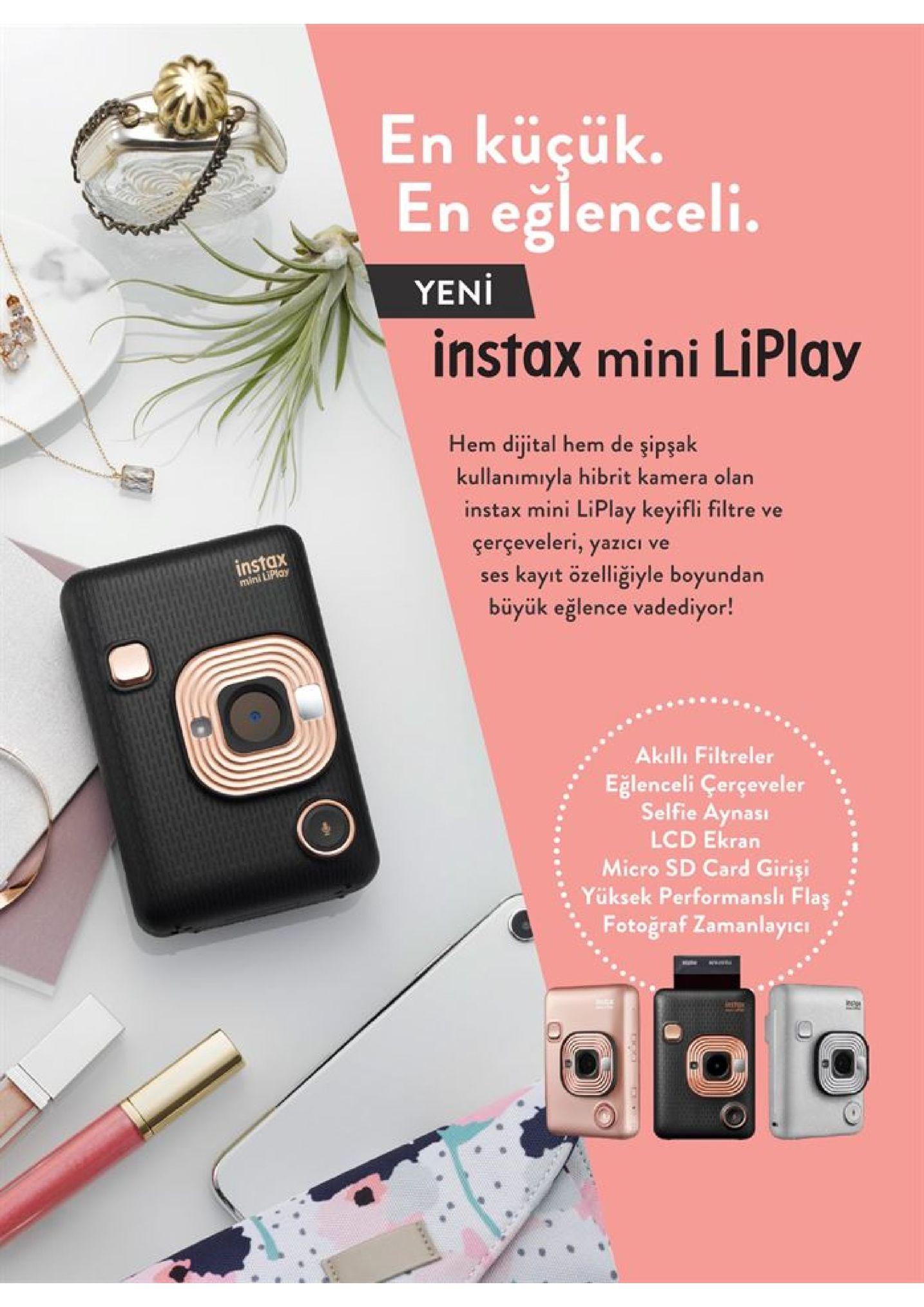 en küçük. en eğlenceli. yeni instax mini liplay hem dijital hem de şipşak kullanımıyla hibrit kamera olan instax mini liplay keyifli filtre ve çerçeveleri, yazıci ve kayıt özelliğiyle boyundan büyük eğlence vadediyor! instax mini lipian ses akılli filtreler eğlenceli çerçeveler selfie aynası lcd ekran micro sd card girişi yüksek performanslı flaş fotoğraf zamanlayie www