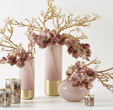 VASES ROSE ET OR