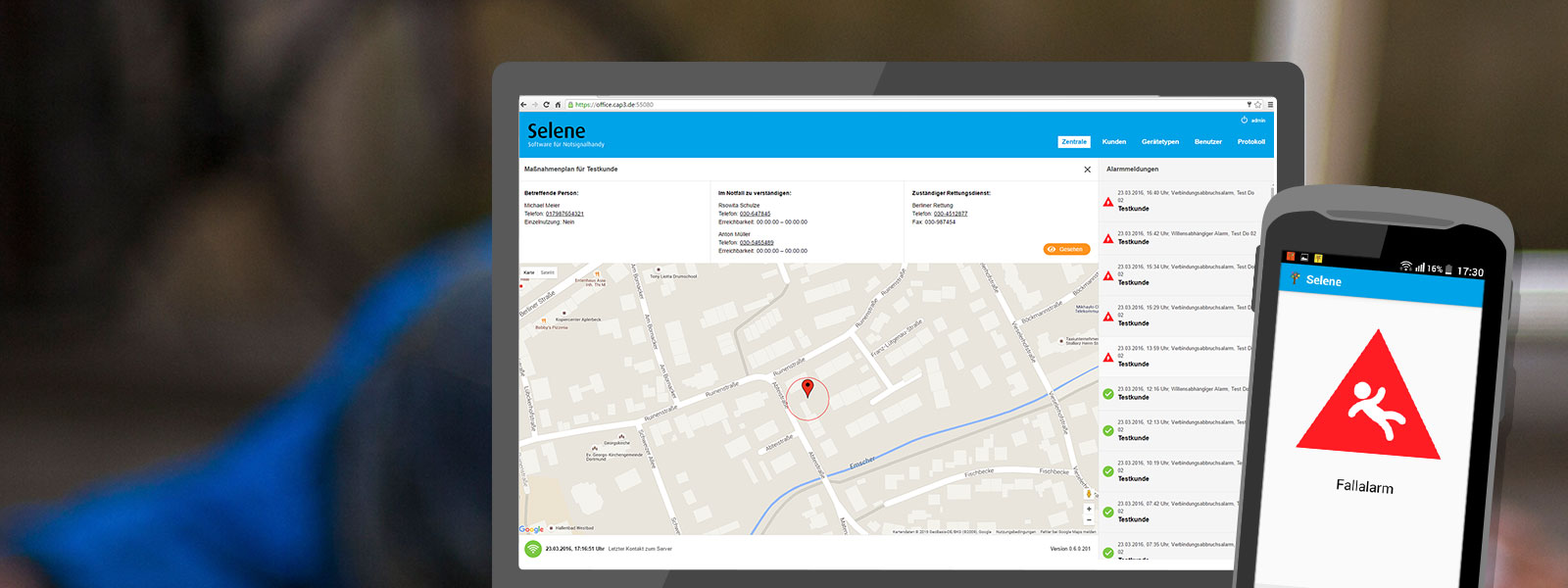 Personen-Notsignal-Anlage: Android-App und Web-App